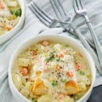 a bowl of homemade Jason's Deli chicken pot pie soup
