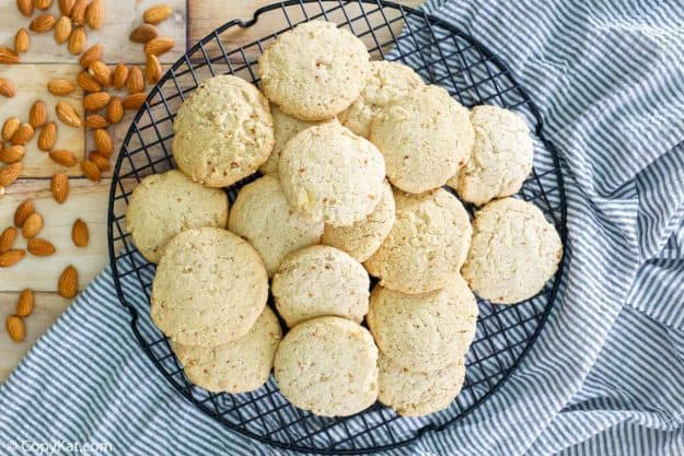 overhead view of homemade Keebler almond shortbread cookies and almonds