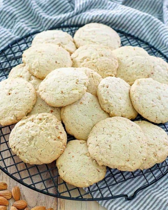 homemade Keebler almond shortbread cookies on a round wire rack