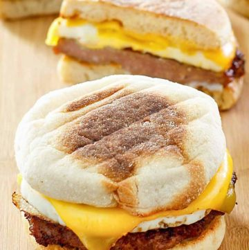 two homemade McDonald's Sausage Egg McMuffins