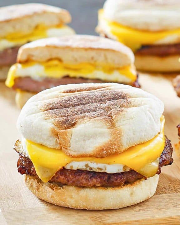 homemade McDonald's Sausage Egg McMuffins
