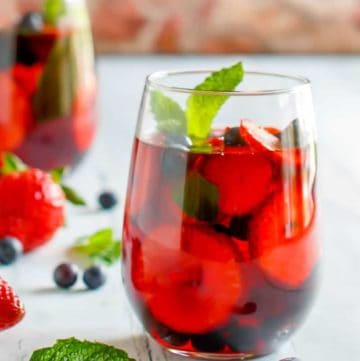 a glass of homemade Olive Garden berry sangria