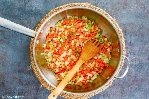 chopped vegetables for Bolognese sauce in a pan