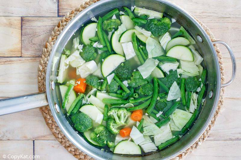 mixed vegetables in a pan