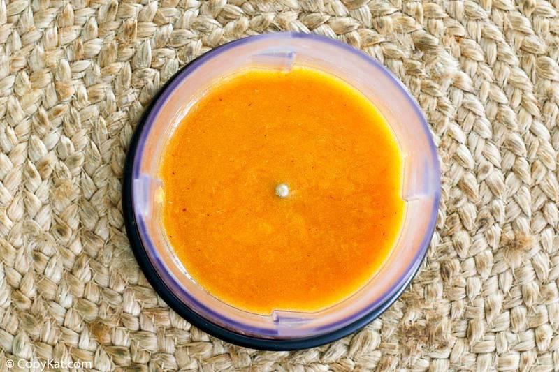 peach puree in a blender bowl