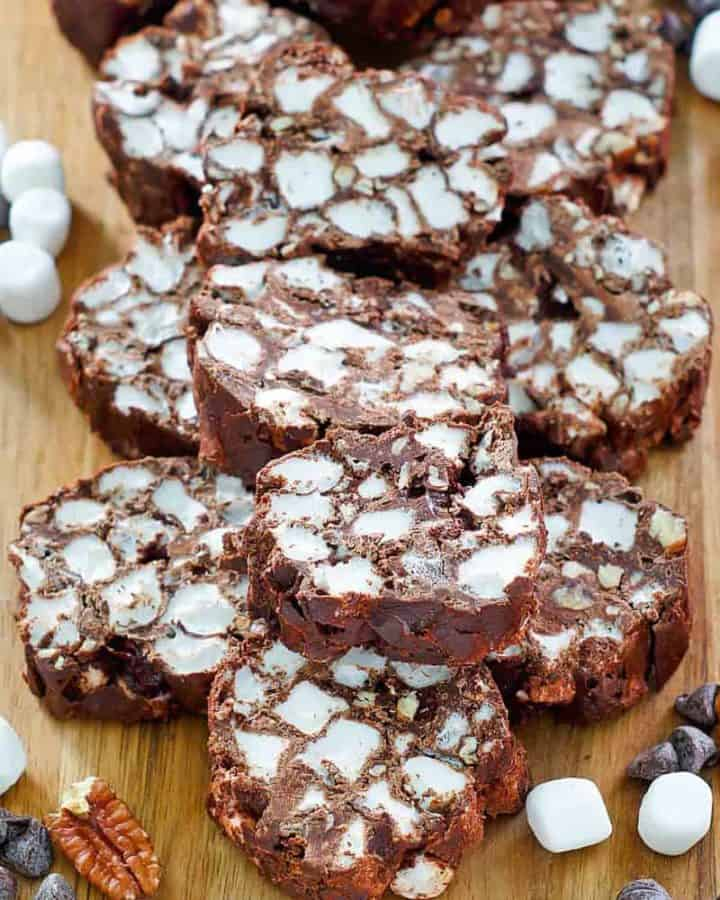rocky road candy slices, pecans, marshmallows, and chocolate chips