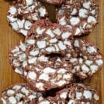 rocky road candy slices on a wood cutting board