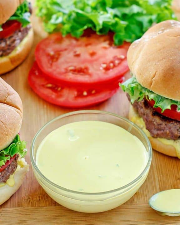 homemade Smashburger Smash Sauce and hamburgers