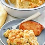 southern cornbread dressing on a plate and in a baking dish