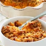 sweet potato casserole with pecan topping in a bowl and baking dish