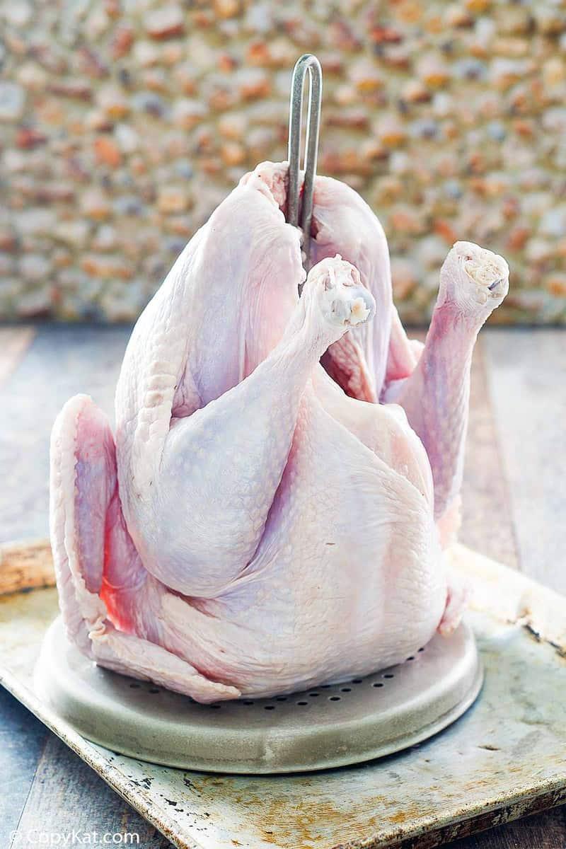 turkey on a deep fryer rack