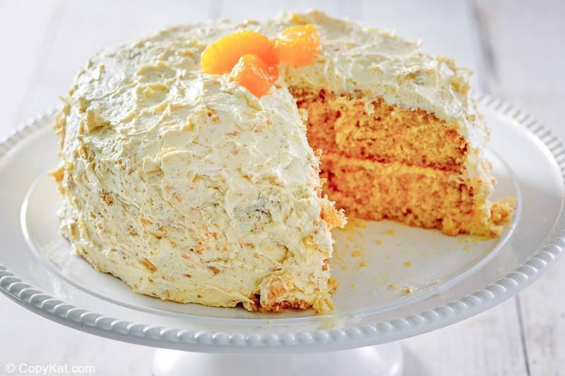 Ambrosia cake on a cake stand