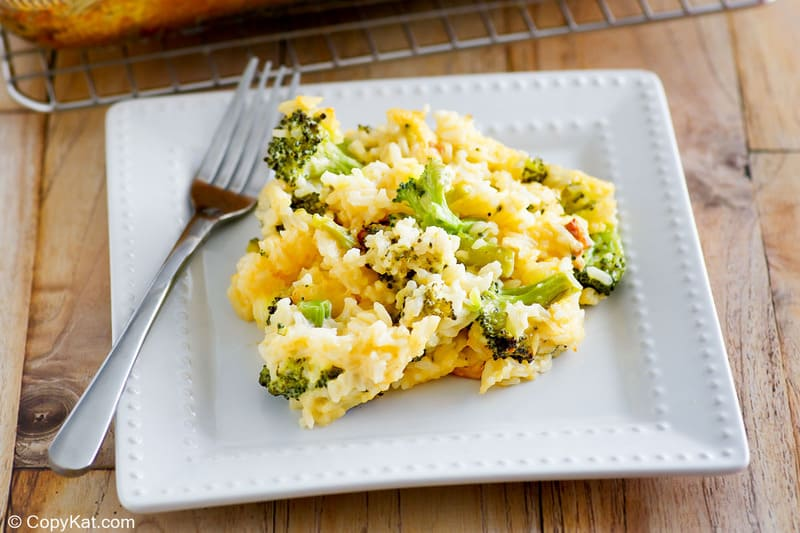 broccoli cheese rice casserole on a plate