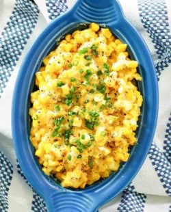homemade Brookville Hotel creamed corn in a blue serving dish