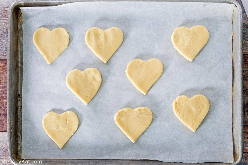 heart-shaped cake mix cookies before baking