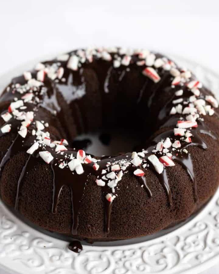 chocolate peppermint bundt cake with ganache glaze