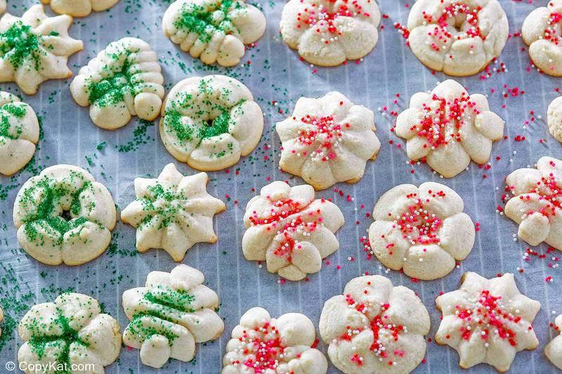 overhead view of cream cheese spritz cookies