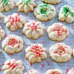 cream cheese spritz cookies with red and green sprinkles