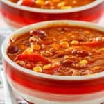 closeup photo of two bowls of easy taco soup