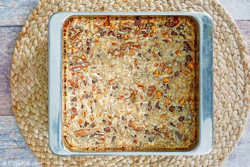 Hello Dolly Bars in the pan after being baked