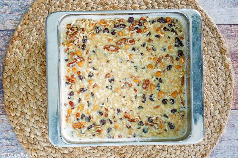 Hello Dolly Bars in the pan before being baked