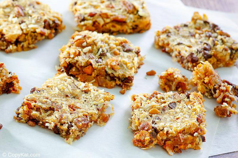 Hello Dolly bars scattered on parchment paper