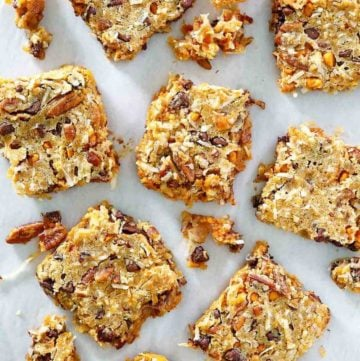 overhead view of Hello Dolly Bars on parchment paper