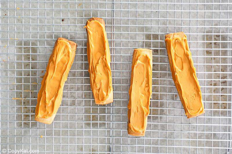caramel topped cookie strips for homemade Twix bars
