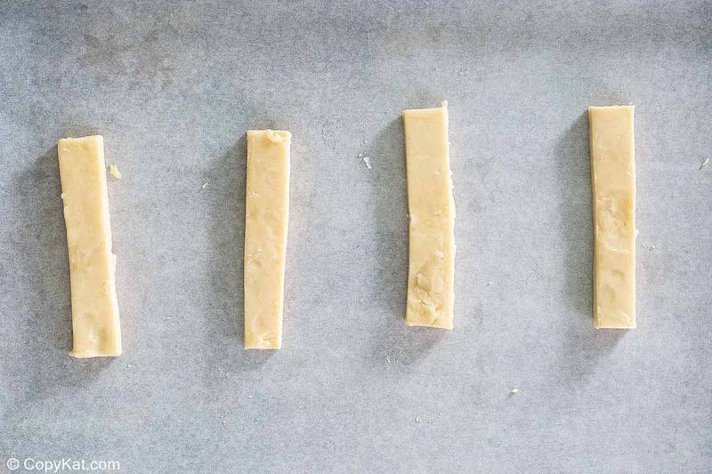 cookie dough strips for homemade Twix bars