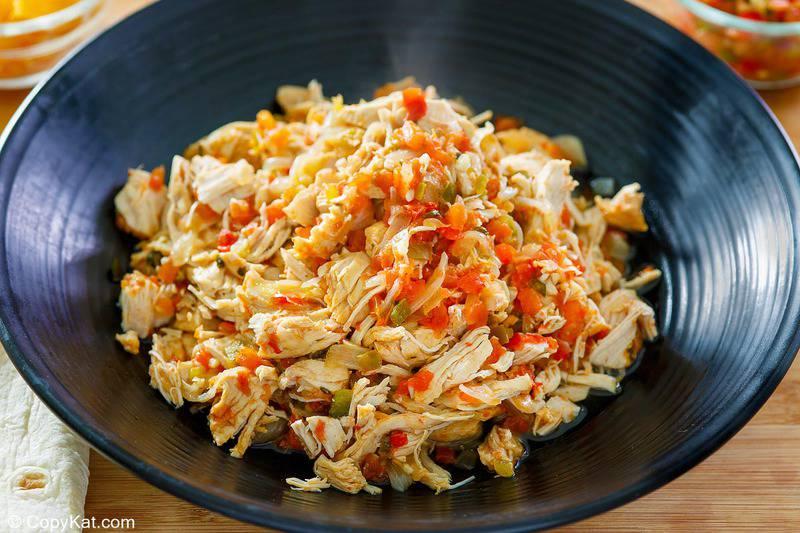 a bowl of Instant Pot salsa chicken