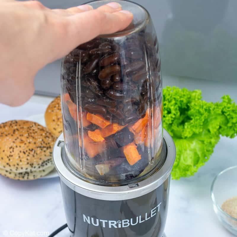 veggies for vegan burger in a blender