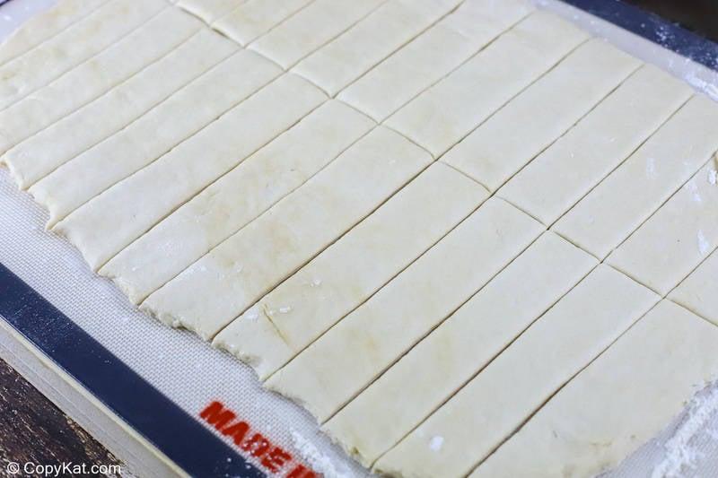 Olive Garden breadsticks dough cut into strips