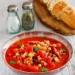 a bowl of homemade Olive Garden Pasta e Fagioli soup