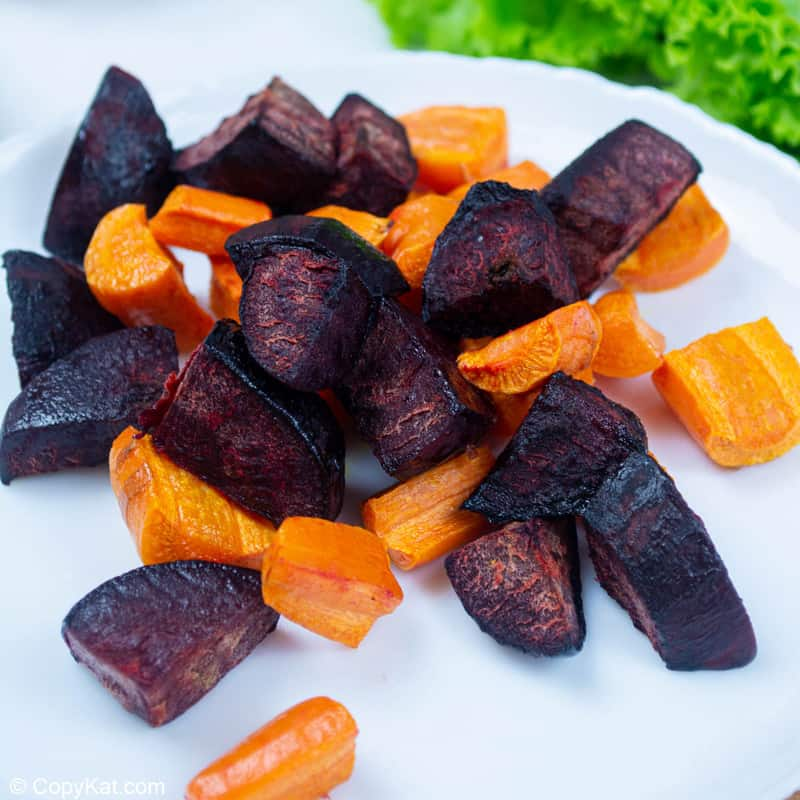 roasted carrots and beets on a plate