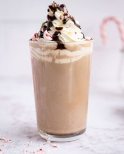 homemade Starbucks Peppermint Mocha with whipped cream, chocolate syrup, and peppermint candy