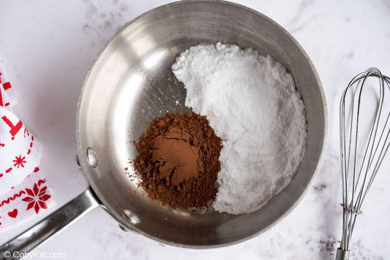 cocoa powder and sugar in a pan