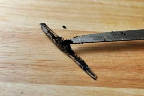 a cut open vanilla bean pod and vanilla seeds on a knife