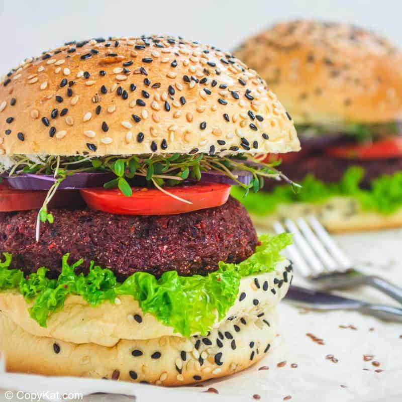 closeup photo of a vegan burger
