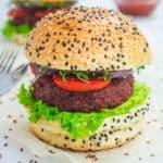 vegan burgers on sesame seed buns