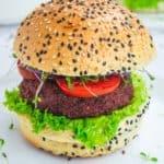 vegan burger with sesame seed bun