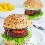 two vegan burgers