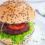 vegan burger with lettuce and tomato