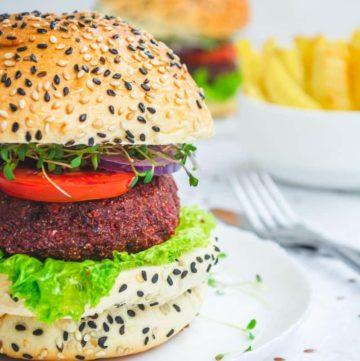 vegan burger on a plate