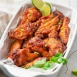 air fryer sweet and spicy chicken wings in a serving dish