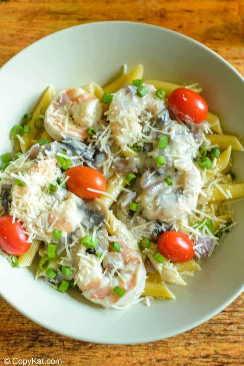 a bowl of homemade Bennigan's shrimp pasta