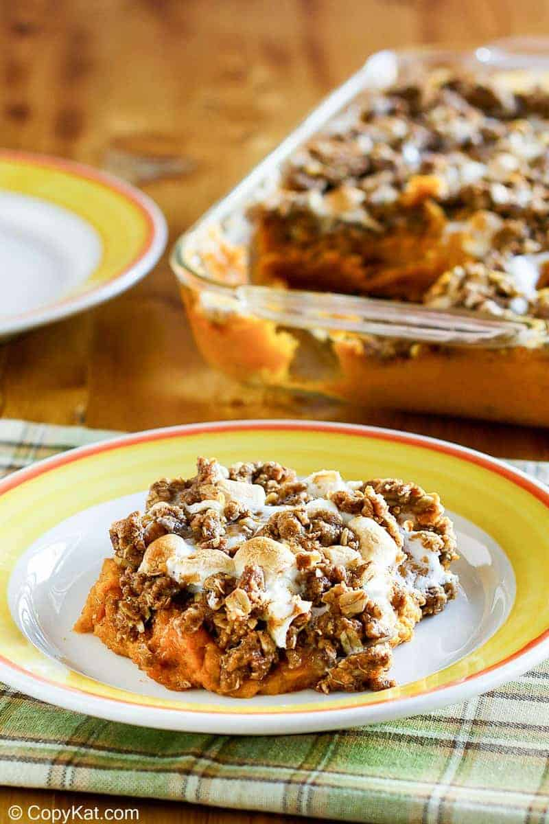 homemade Boston Market sweet potato casserole on a plate and in a baking dish
