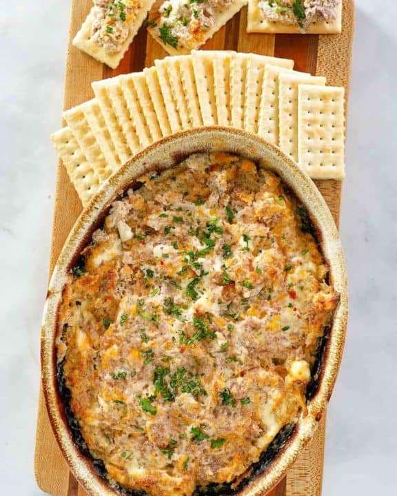 overhead view of hot boudin dip and crackers