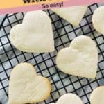 heart shaped cake mix cookies in a rack