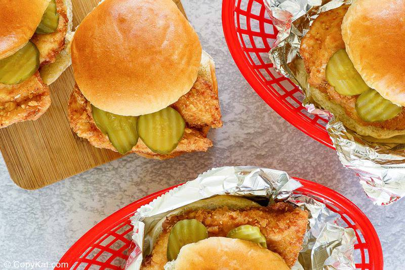 overhead view of four homemade Chick Fil A chicken sandwiches