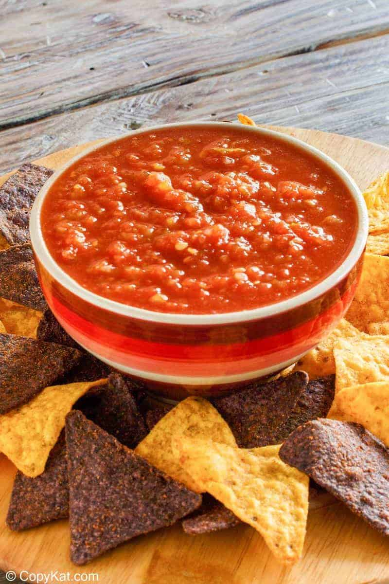 a bowl of homemade Chili's salsa and tortilla chips